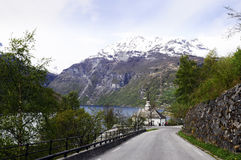 Coastal and Mountain Scene @Geiranger Royalty Free Stock Images