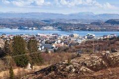 Coastal Norwegian landscape. Fishing village Stock Images