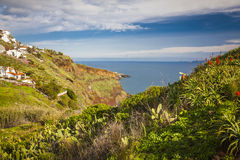 Coastal and ocean view near Funchal town, Madeira island, Portugal Royalty Free Stock Images