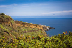 Coastal and ocean view near Funchal town, Madeira island, Portugal Stock Image