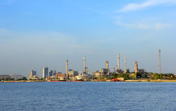 Coastal oil refineries. Royalty Free Stock Photo