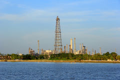Coastal oil refineries. Royalty Free Stock Images