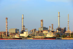 Coastal oil refineries. Stock Photo