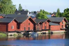 Coastal old barns on the river Porvoonjoki. Porvoo Stock Image