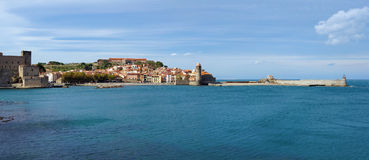 Coastal panorama old village of Collioure France Stock Image