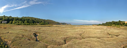 Coastal panoramic grass landscape with blue sky. Brittany. Royalty Free Stock Photo