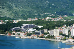 The coastal part of Igalo. Aerial view of the coastal part of the settlement Igalo Montenegro Royalty Free Stock Photo