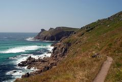 Coastal Path. Leading to Land's End point in Cornwall Stock Photos