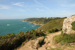 Coastal Path above Moulin Huet Bay, Guernsey Stock Images