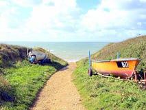 Coastal path, Brook bay, Isle of Wight. Royalty Free Stock Photos