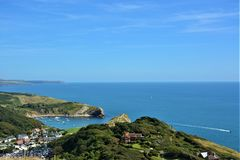 Lulworth Cove, England, Dorset, UK. The coastal path from Durdle Door to Lulworth Cove England UK Stock Image