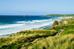Coastal path and foreshore at Godrevy Point Royalty Free Stock Image