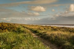 The Coastal Path. At Huttoft bank in Lincolnshire Royalty Free Stock Photos