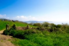 Coastal Path Overview - May 2018. The South West Coast Path stretches from Minehead, Somerset down through Devon, Cornwall and ends at Poole, Dorset - some 630 Royalty Free Stock Image