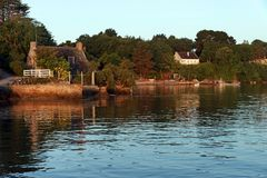 Coast of the Morbihan gulf in Brittany Royalty Free Stock Photo