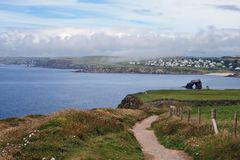 Coastal Path, South Devon. This is a section of the coastal path between Hope Cove and Thurlestone beach near Salcombe in Devon, southern England, UK, with the stock photos