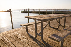 Coastal Picnic Table Royalty Free Stock Images