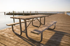 Coastal Picnic Table Stock Image