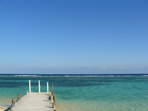Coastal pier in the Mexican Caribbean Royalty Free Stock Photography