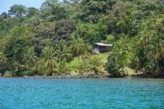 Coastal property with rustic house Panama Stock Photography