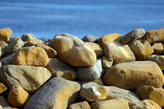 Coastal Protection. Large stones for coastal protection from the sea Stock Photos