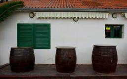 Coastal Pub With Wooden Barrels Stock Photo