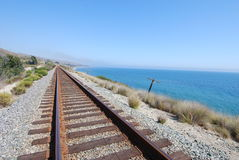 Coastal Railroad Tracks stock images