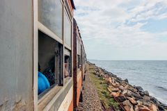 Coastal railway line with sea view royalty free stock photography