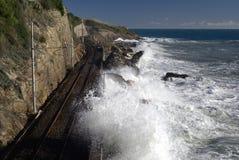 Coastal railway track Royalty Free Stock Photos