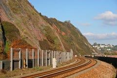 Coastal railway track Royalty Free Stock Photography