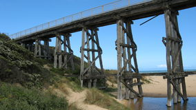 Coastal Railway Trestle Bridge Royalty Free Stock Images