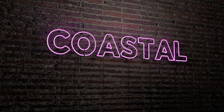 COASTAL -Realistic Neon Sign on Brick Wall background - 3D rendered royalty free stock image Stock Photography