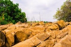 Coastal red rocks Stock Image