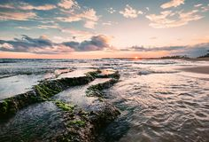 Coastal reefs at low tide time, sunset, Sri Lanka stock photography