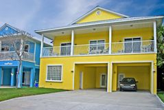Coastal residental 6. Bright yellow coastal living home in Florida Stock Image