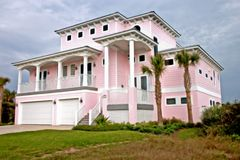 Coastal residental 8. Bright pink coastal living home in Florida Royalty Free Stock Photo