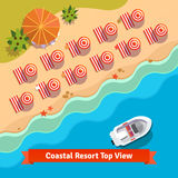 Coastal resort beach, sea and boat, top view Royalty Free Stock Image