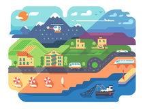 Coastal resort town. With sandy beach and infrastructure. Vector illustration stock illustration