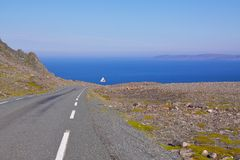 Coastal road. Road in Varanger, extreme north of Norway during summer with Barents Sea in the view Stock Photography