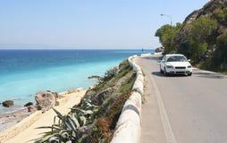 Coastal Road. Car driving on a coastal road along the Mediterranean Sea royalty free stock images