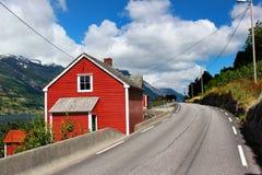 Coastal road along the Hardanger fjord, Hordaland county, Norway.  royalty free stock photo