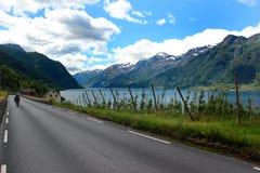 Coastal road along the Hardanger fjord, Hordaland county, Norway.  stock photos