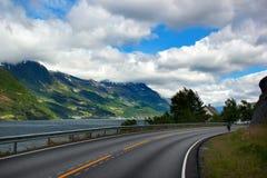 Coastal road along the Hardanger fjord, Hordaland county, Norway.  stock images