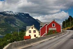 Coastal road along the Hardanger fjord, Hordaland county, Norway.  stock photo