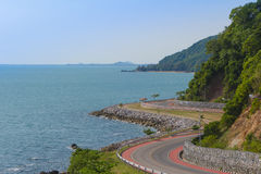 Coastal road along tropical sea landscape at Chanthaburi, Thailand. Coastal road along tropical sea bay view landscape, view from Noen Nangphaya View Point at stock images