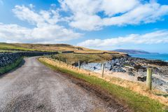 Coastal Road at Durness. The coastal road at Balnakeil beach at Durness in the far north of Scotland Stock Photo