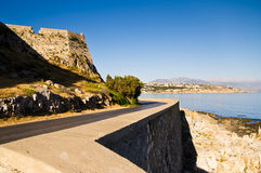 Coastal road below the old fortress Stock Image