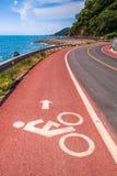 Coastal road and bicycle lane Royalty Free Stock Photo
