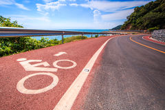 Coastal road and bicycle lane Stock Photography