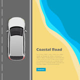 Coastal Road Conceptual Flat Vector Web Banner. Coastal road conceptual web banner. Modern car goes on highway near ocean beach top view flat vector illustration Stock Photos
